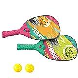 Raqueta de tenis para niños, juego de pelota de pádel con bolas de safe playa al aire libre, juguete deportivo, juego en la playa, juguete de tenis al aire libre, 2 raquetas