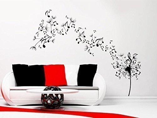 Wall Smart Designs Pusteblume samen Musik Note Wand Aufkleber Aufkleber Transfer Schablone Wandbild Art wsd677