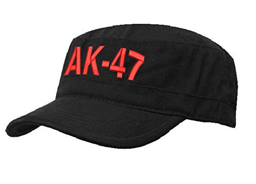 AK 47 MILITÄRMÜTZE Vintage Military Mütze Cap Fancy Dress Kappe biker Cadet Hat Flat (AK 47 Black red)