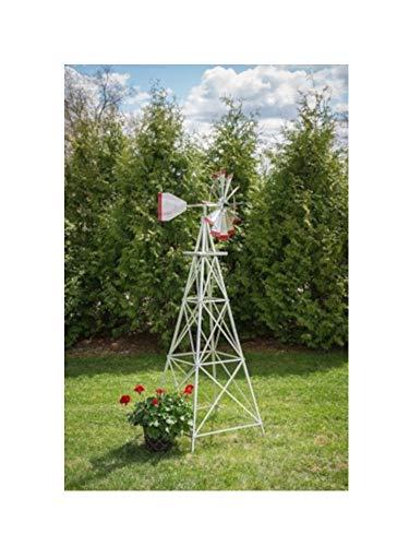 8 Ft Premium Aluminum Decorative Garden Windmill- Red Trim