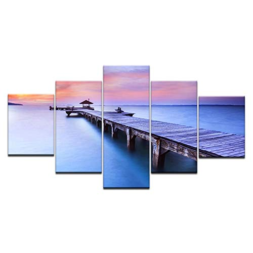 IVDLWE 5 Stuk De Zonsondergang Muur Kunst Dusk Pier Decoratieve Canvas Schilderen De Woonkamer Slaapbank Poster Modulair Canvas