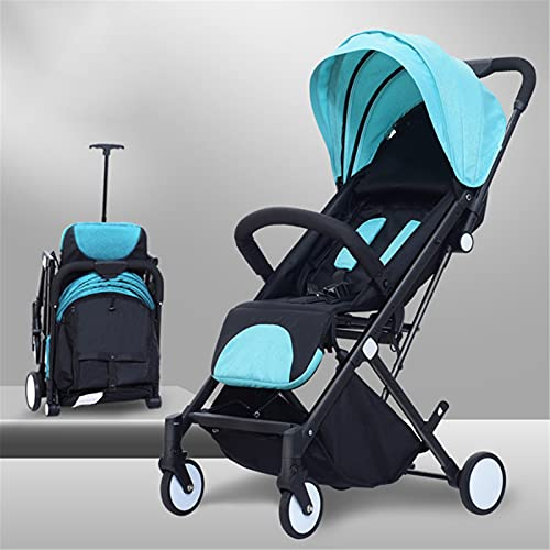 TONGQU Silla de Paseo Ligera, Cochecito de Bebe portátil, Plegable en un Segundo, Carrito bebé Plegable con una Mano con Cubierta para la Lluvia, Ideal para Caminar, Compras o Viajar,Azul