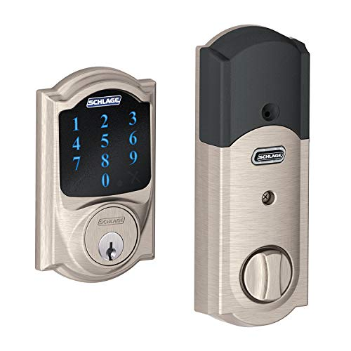 Schlage BE469ZPVCAM619 Satin Nickel Connect Camelot Touchscreen with Built-in Alarm & Z-Wave