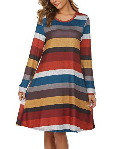 Beyove Damen Kleid Weit gestreiftes Lose Gerades Lange Ärmel Frau Freizeit Kleider Baumwolle Boho Kleider Weich Bequem (XL, Streifen-1)