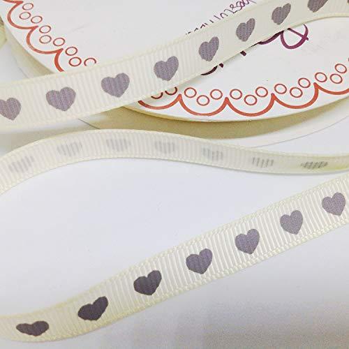 Berties nœuds Polyester ruban gros grain Crème avec cœurs Gris 9 mm x 2 mètres. Idéal pour la Saint-Valentin et travaux manuels.