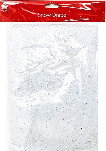 YLAB - Snow Blanket, Snow Drape with Silver Glitter, 91 x 114 cm