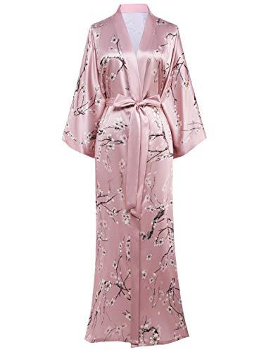 Coucoland Damen Morgenmantel Maxi Lang Satin Sommer Kimono Blumen Muster Gedruckt Bademantel Kimono Strickjacke Damen Lange Robe Blumen Schlafmantel Girl Pajama Party (Stil2 - Pink)