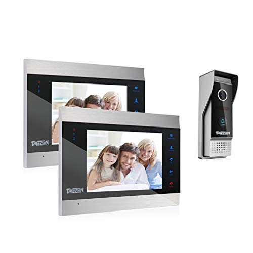 TMEZON Sistema de intercomunicación con Timbre para videoportero, 1080P Sistema de Entrada con 7 Pulgadas, 2 monitores y 1 cámara para 1 hogar