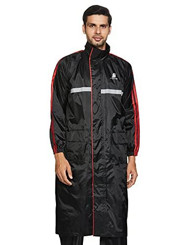 Amazon Brand – Symactive Water Resistant Polyester Long Rain Coat, Black, XX-Large