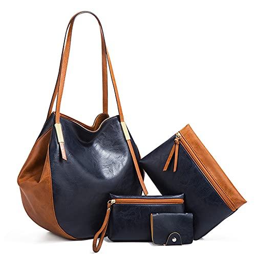 Bolsos de Mujer,Bolsos Mujer Grandes Cuero Bandolera Bolso Shopper Bolso Señora de 4 piezas con para mujer (Azul-Marrón)