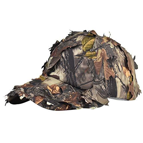 Chapéu de sol de folha da selva para uso ao ar livre, boné de beisebol ajustável com tira ajustável para escalada e caça
