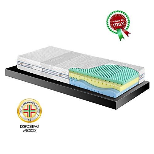 Goldflex Materasso Memory Solution 4 Singolo 80x190 Strati + Schiumato PUR-O Ecologico Rivestimento Sfoderabile Fascia 3D Garanzia 10 Anni Made in Italy Dispositivo Medico Detrabile