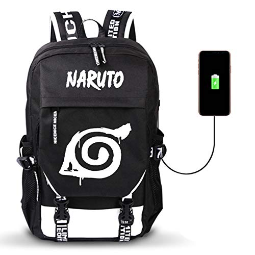 ZOSUO Laptop Backpack NARUTO Anime Graphics Bag with USB Charging Port Business Notebookrucksack Tablets Daypack Water Resistant Bag for Work College