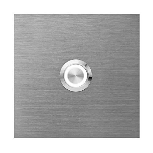 Qualitäts-Klingelplatte MOCAVI Ring 515 Klingelschild aus V4A-Edelstahl, quadratisch (8,5 cm), LED-Klingel-Taster (weiß)