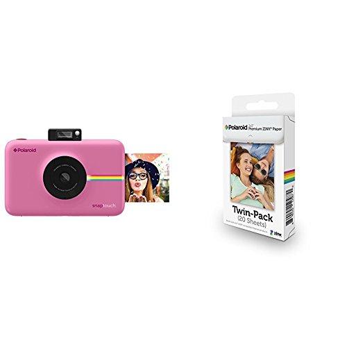 Polaroid Snap Touch Cámara digital con impresión instantánea y pantalla LCD con tecnología Zero Zink (rosada) + Polaroid Premium Zink Paper - Paquete de 20 papeles fotográficos (compatibles con Polaroid Snap Z2300, Socialmatic y la impresora móvil ZIP, 5 x 7.6 cm), color blanco