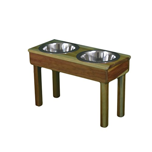 OFTO Raised Dog Single or Double Bowls - Solid Wood Cat and Dog Bowl Stands, with Embossed Stainless...