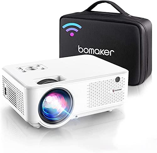 BOMAKER Proyector WiFi, Proyector Portátil, 7000 Brillo, Soporta 1080p Full HD, Cine en Casa 300' Duplicar Pantalla para Android/Phone Smartphone Pad, HDMI/USB/VGA/AV, C9