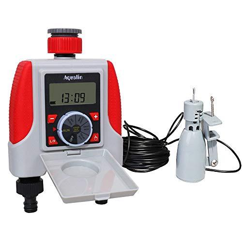 N\A Schlauch Sprinkler Wasser Timer Dual 2-Outlet automatische Bewässerung Timer Digital elektronisches Magnetventil Sprinkler Timer 21068 und Regen-Sensor (Color : White)
