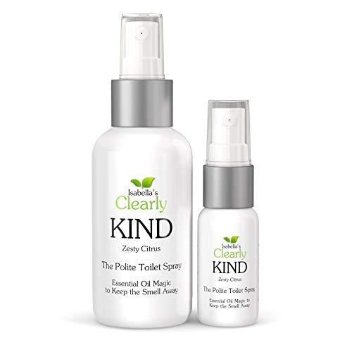 Clearly KIND, L'olio da bagno spray discreto per fare andare via gli odori. Eliminatore naturale di odori e Deodorante dell'ultimo minute. Uno per il bagno e uno da viaggio (Zesty Citrus)