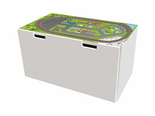 Ferrocarril pegatinas | pegatinas para muebles | BTD04 | adecuado para el arcón de banco STUVA de IKEA para niños(90 x 50 cm) | (mueble no incluido) STIKKIPIX