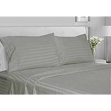 CHATEAU HOME COLLECTION Luxury 100% Supima Cotton 500 Thread Count Ultra Soft Damask Stripe Sheet Set, Mega Sale, Lowest Prices, Moonstone, Queen