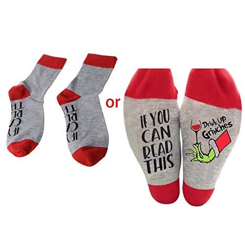 Youliy Calcetines unisex de Navidad con texto en inglés 'Drink Up Grinch'
