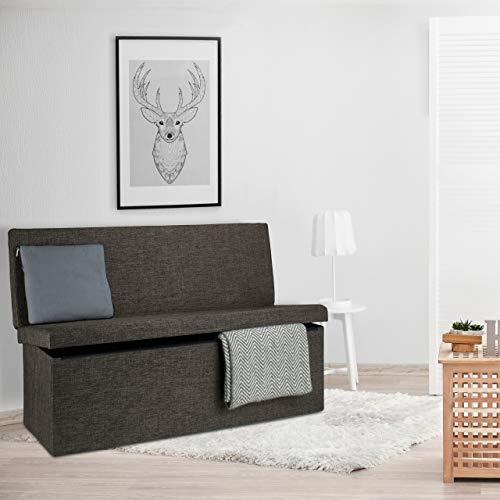 Relaxdays Faltbarer Sitzhocker mit Lehne XL HBT 73 x 114 x 38 cm stabiler Sitzcube als Fußablage Sitzbank und Sitzwürfel aus Leinen als Aufbewahrungsbox mit Stauraum mit Deckel für Wohnraum, braun - 3