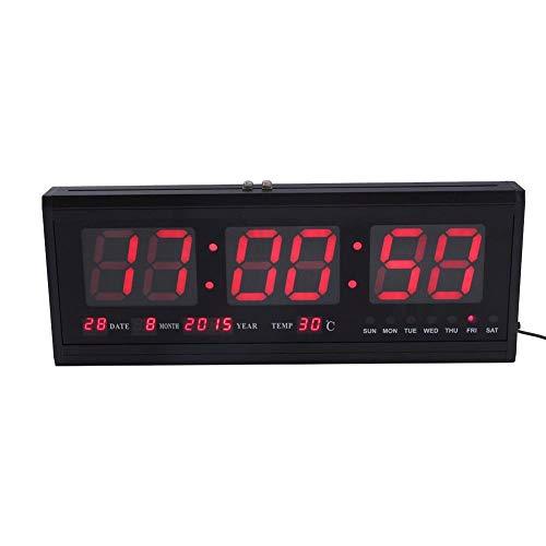ZJchao - Orologio gigante da parete, in metallo, digitale, a LED, con batteria di litio, per ufficio, salotto o cucina - con calendario e temperatura -48x 5,1x 18,5cm rosso