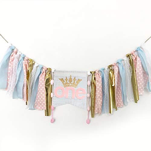 Pancarta decorativa para primer cumpleaños, 2,5 m de cinta para trona para decoración de primer cumpleaños del bebé rosa