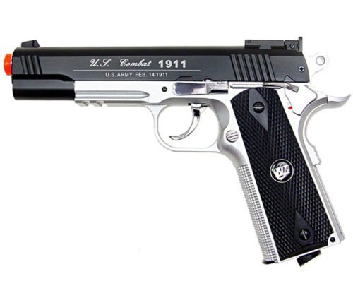 500 fps new wg airsoft full metal m 1911 gas co2 hand gun pistol w/ 6mm bb bbs(Airsoft Gun)