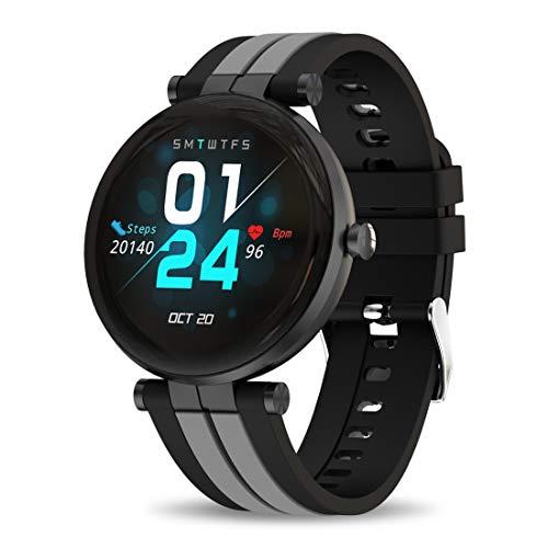 Bebinca Smartwatch Vollrund-Farbdisplay, Fitness-Tracker mit Herzfrequenz- und Blutdruckmessgerät Meldungsbenachrichtigungen, extrem Langer Akku IOS/Android (SCHWARZ)