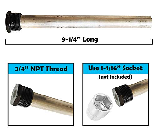 """Diximus RV Water Heater Anode Rod - Magnesium Anode Rod 9.25''Long & 3/4'' Thread - Long Lasting Tank Corrosion… 3 PROTECT YOUR RV WATER HEATER. Anode rod act as a powerful filter for the water stored in the heater, protecting your RV water heater from corrosion and help to prolong the life of the water heater. Anode rods absorbs the corrosive action caused by hot water and prolongs the life of your water heater tank EXTRA DURABLE. RV water heater anode rod is made from superior quality magnesium guaranteeing longer life for water heater unlike classic aluminum zinc rod COMPATIBILITY. Magnesium anode rod is 9.25"""" long with 3/4"""" NPT threads and is compatible with Suburban and Mor-Flo water tanks. Use a 1-1/16 inch socket to install (socket not included)"""
