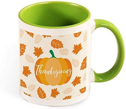 Taza de café de cerámica divertida - Ilustración de saludo de bola grande de Feliz Navidad para hombres / mujeres / cumpleaños / vasos de Navidad tazas-verde-patrón2