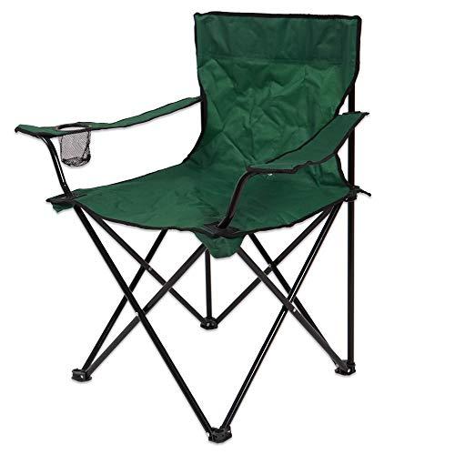 Silla Plegable de Camping Verde de Acero para Playa Garden -