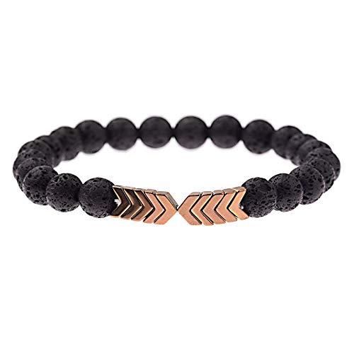 LLXXYY Stenen armband voor vrouwen, handgemaakte armband van natuurstenen parels 7 chakra vintage armband lava parels diffuser voor etherische olie Rose pijl genezende energie elastische armbanden voor vrouwen