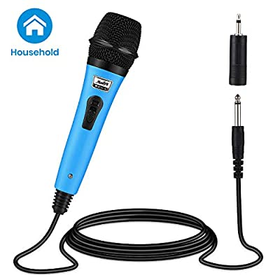 Moukey Dynamic Wired Karaoke Microphone Metal Handheld Mic with 13ft XLR Cable for Karaoke Singing, MWm-5 Blue