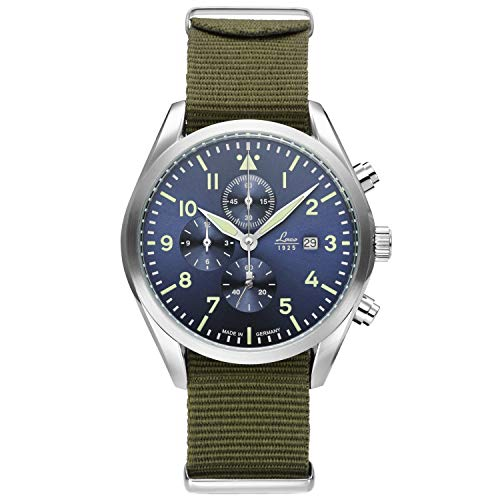 LACO Atlanta Herren Armbanduhr, Chronograph, grünes Nylonband, Mineralglas, Ø 42 mm, Quarz, inkl. Etui - 861919