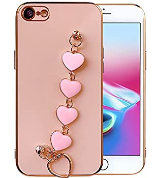 Qokey Compatible for iPhone SE 2020 Case,iPhone 7 Case,iPhone 8 Case 4.7   Luxury Plating Soft TPU Case with Love Heart Chain Bracelet Strap Shiny Cute Pretty Protective Phone Cover Pink
