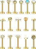 16 Piezas de Pendientes de Nariz de Acero Inoxidable 16G Barras de Labret de Trago Aro de Labio de Cristal Piercing de Diseño de bola para...