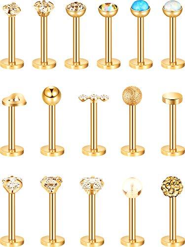 16 Piezas de Pendientes de Nariz de Acero Inoxidable 16G Barras de Labret de Trago Aro de Labio de Cristal Piercing de Diseño de bola para Mujeres (Dorado)