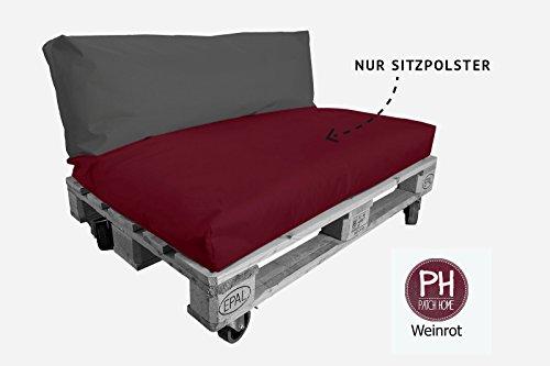 Patchhome - Coussin d'assise pour palette - siège intérieur et extérieur - 120 x 60 x 15 cm - 25 couleurs et 7 tailles au choix