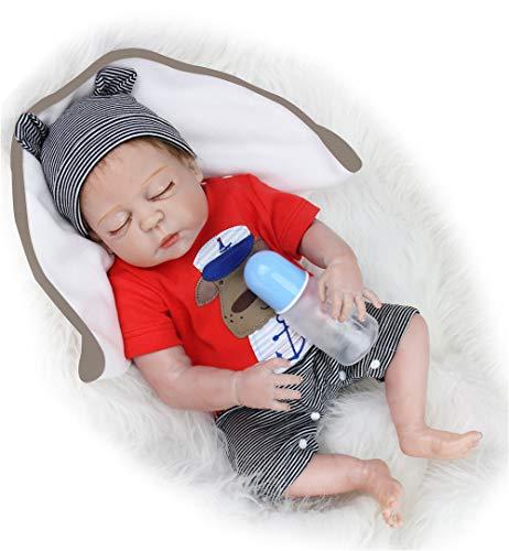 HXUEE 20 Zoll Echt Schlafend Reborn Babypuppe Ganzkörper Silikon Junge Lebensechtes Puppe Kleinkind Handgemacht Reborn Babys Dolls Neugeborenes 50 cm