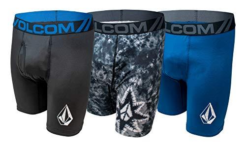 Volcom Herren-Boxershorts, Poly-Elastan, 3 Stück - Blau - Large