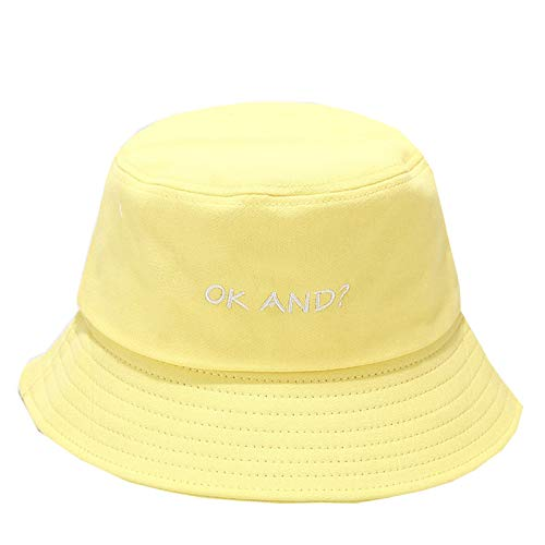 Whyeasy Bucket Hat Cute Bucket Hat Beach Sun Protection Hat Summer Pure Color Travel Bucket for Women Men(Yellow,One Size)