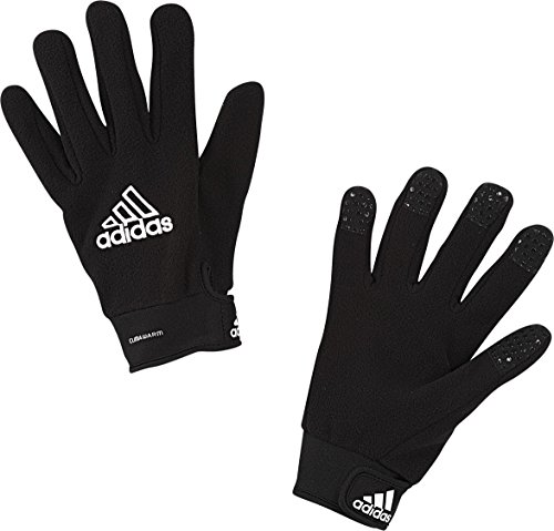 adidas Adult Field Player Fleece Glove, Black/White, Size 5