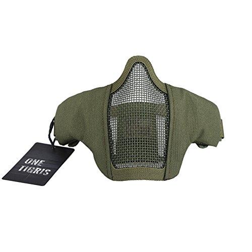 OneTigris Faltbare halbe Gesichtsschutz Maske Mesh Maske für Softair Painball CS (Armee Grün) |MEHRWEG Verpackung
