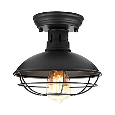 Retro Barn Ceiling Light-Easric Vintage Industrial Wrought Iron Material Decoration Fixture Cage Cover Rustic Semi Flush Mounted Pendant Lighting Dome/Bowl Shaped Lamp for Kitchen Aisle Porch -Black