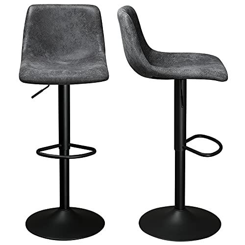DICTAC Barhocker 2er Set, höhenverstellbar Barstühle mit lehne Küche Drehstuhl Barhocker Tresenhocker Bistrohocker, belastbar 180 kg Anthrazit