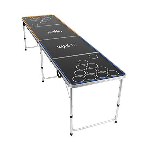 MAXXMEE Beer Pong   Tischspiel mit LED Unterbeleuchtung   Bierpong Trinkspiel   lustiges Partyspiel in- und Outdoor   Faltbarer Tisch [schwarz]
