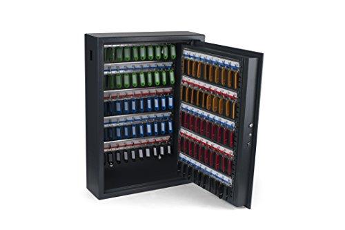 Pavo 8056019 Schlüssel Kasten-/Schrank-/Tresor, High security mit elektro Sicherung, 100 Haken mit seitlichem Schlüsseleinwurf, dunkelgrau
